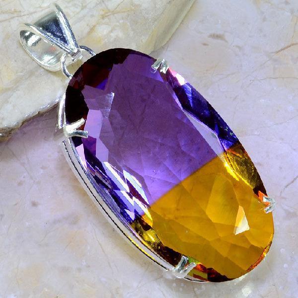 Ame 823a pendentif pendant ametrine pierre gemme lithotherapie reiki achat vente mineraux