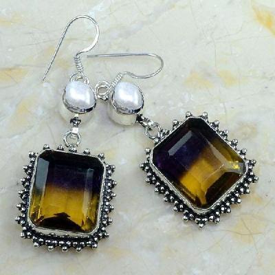 Ame 829a boucles pendants oreilles ametrine perle nacre achat vente bijou argent 925