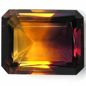 AM-0461 - Rare ! AMETRINE de BOLIVIE bicolore taillée émeraude 25,9 x 19,2 x 11,7 mm - 45,23carats - 9,05 gr