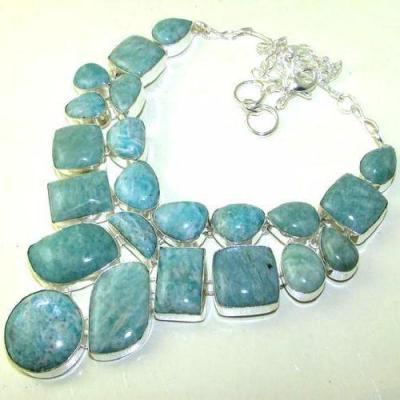 Amz 002a collier parure 22xamazonite 124gr achat vente bijou argent 926