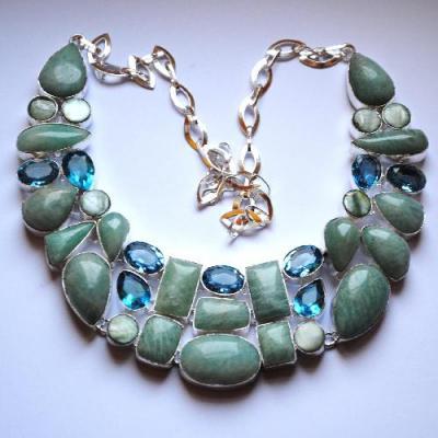 Amz 025a collier parure amazonite topaze bleue achat vente bijou argent 925