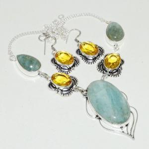 Amz 118a collier boucles oreilles amazonite citrine achat bijou argent 925