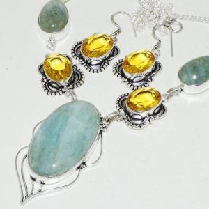 Amz 118b collier boucles oreilles amazonite citrine achat bijou argent 925