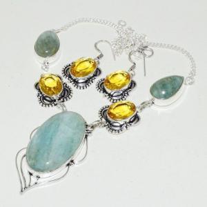 Amz 118d collier boucles oreilles amazonite citrine achat bijou argent 925