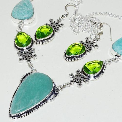 Amz 123b collier boucles oreilles amazonite peridot achat bijou argent 925