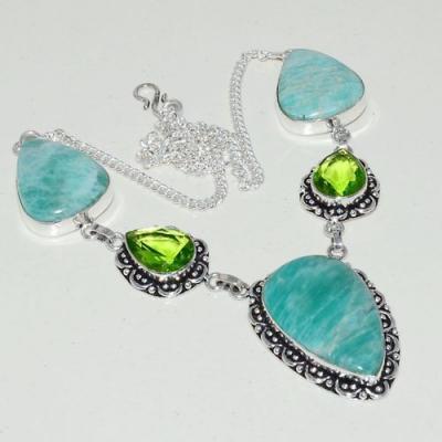 Amz 124a collier parure sautoir amazonite peridot achat bijou argent 925