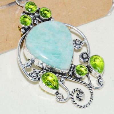 Amz 137c pendentif pendant baroque amazonite peridot 19gr achat bijou argent 925