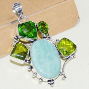 Amz 138a pendentif pendant baroque amazonite peridot 26gr achat bijou argent 925