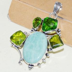 Amz 138b pendentif pendant baroque amazonite peridot 26gr achat bijou argent 925