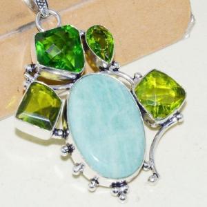 Amz 138c pendentif pendant baroque amazonite peridot 26gr achat bijou argent 925