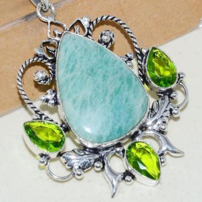 Amz 139c pendentif pendant baroque amazonite peridot 18gr achat bijou argent 925