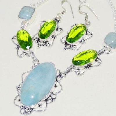 Amz 141b collier boucles oreilles baroque amazonite peridot 43gr achat bijou argent 925