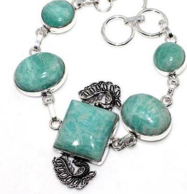 Amz 199b bracelet 5xamazonite 15x20mm 24gr achat vente bijou argent 925