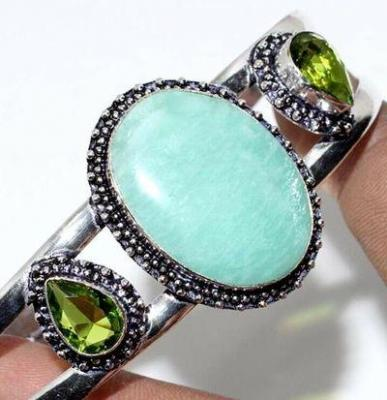 Amz 202b bracelet torque amazonite peridot 25x30mm 31gr bijou argent 925