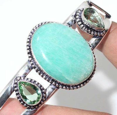 Amz 215b bracelet torque amazonite peridot 25x30mm 31gr bijou argent 925