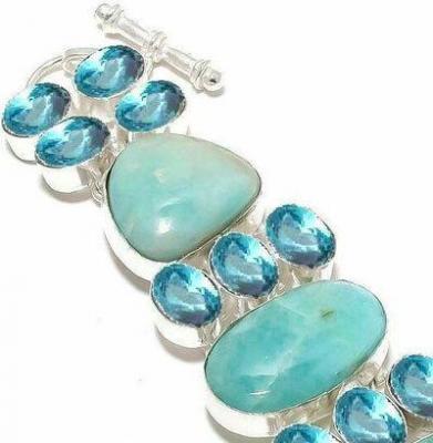 Amz 236c bracelet amazonite topaze bleue 25x20mm 41gr achat vente bijou argent 925