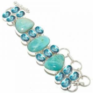 Amz 237a bracelet amazonite topaze bleue 25x20mm 50gr achat vente bijou argent 925