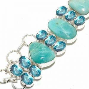 Amz 237b bracelet amazonite topaze bleue 25x20mm 50gr achat vente argent 925