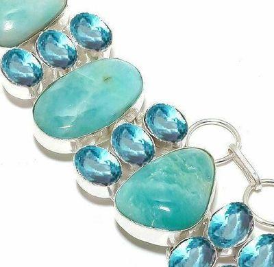 Amz 237c bracelet amazonite topaze bleue 25x20mm 50gr achat vente bijou argent 925