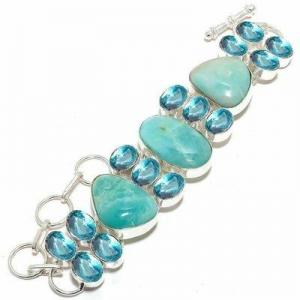 Amz 237d bracelet amazonite topaze bleue 25x20mm 50gr achat vente bijou argent 925