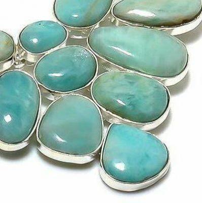 Amz 239e collier parure amazonite topaze bleue 20x15mm 70gr bijou ethnique argent 926
