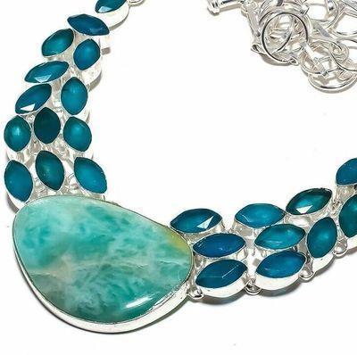 Amz 241b collier parure amazonite saphire bleu 25x40mm 58gr bijou ethnique argent 925