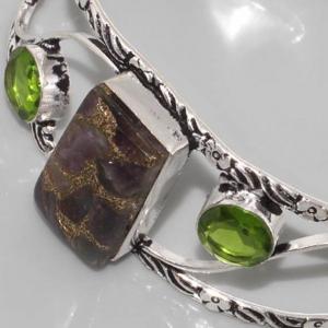 Bc 0007b bracelet peridot ammolite achat vente bijou argent 925