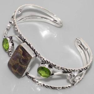 Bc 0007c bracelet peridot ammolite achat vente bijou argent 925
