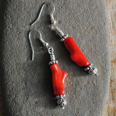 Bcl 102 1 boucles oreilles corail argent ethnique achat vente 1