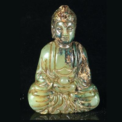 Bdh 007a bouddha sculpture jade prehnite achat vente objets bouddhisme esoterique