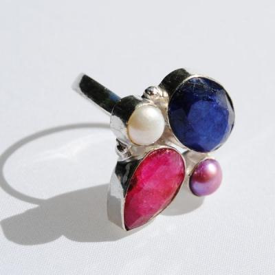 Bm 0054a bague t54 rubis saphir perle argent 925 achat vente bijoux