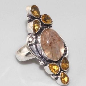 Bm 0302a bague medievale quartz rutile citrine argent 925 achat vente