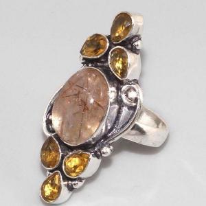 Bm 0302b bague medievale quartz rutile citrine argent 925 achat vente