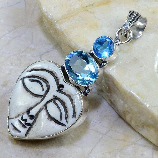 Bm 0305c pendentif medievale jaspe iolite argent 925 achat vente 1