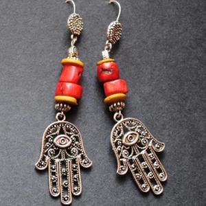 Bor 023a boucles berbere corail argent ethnique achat vente