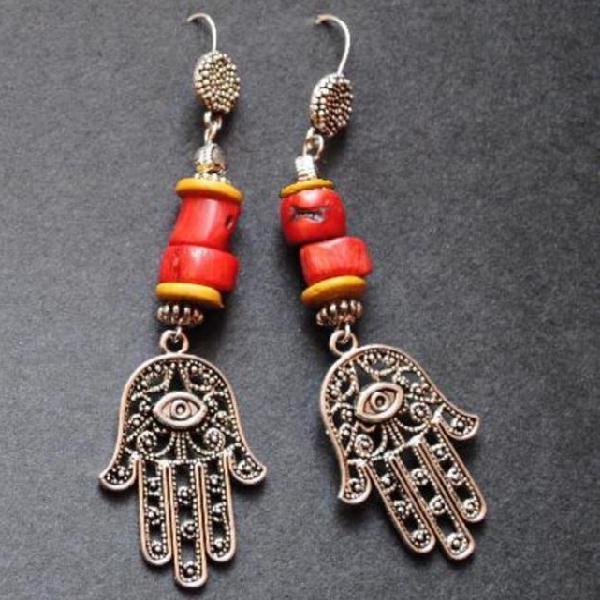 Bor 023b boucles oreilles kabyles berbere corail argent ethnique achat vente