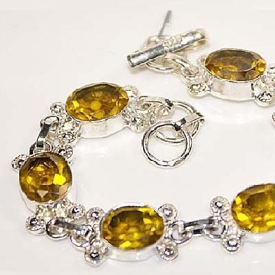 CT-0029 - Joli BRACELET 20 cm Argent 925 avec 6 CITRINES lemon citron dorées - 92 carats - 18,4 gr