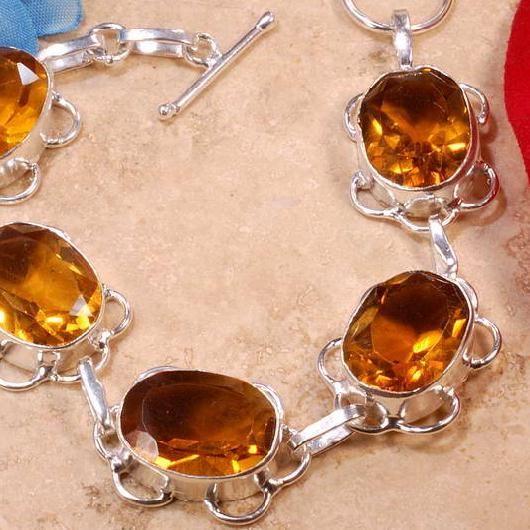 BRA-056 - Joli BRACELET 20 cm Argenté 925 avec 5 CITRINES Madères Oranges   - 112 carats - 22,4 gr