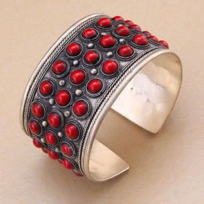 Bt 4201a bracelet corail ancien tibet tibetain argent ethnique achat vente 1