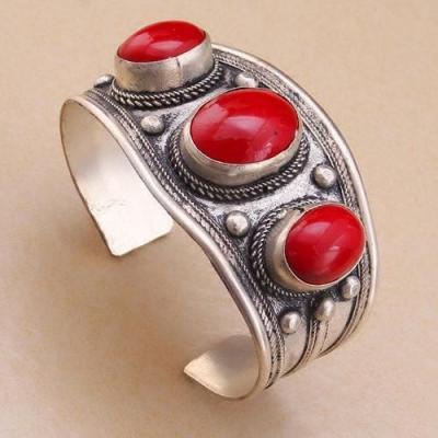 Bt 4202a bracelet corail ancien tibet tibetain argent ethnique achat vente 1