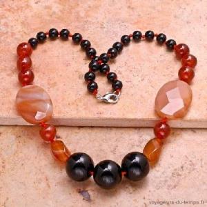 Cn 0021a collier sautoir parure onyx cornaline carnelian achat vente bijou argent 925