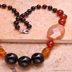 Cn 0021b collier sautoir parure onyx cornaline carnelian achat vente bijou argent 925