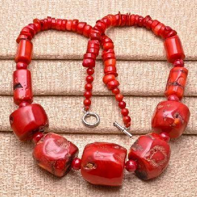 Cr 0386a collier parure sautoir corail rouge achat vente bijoux ethniques