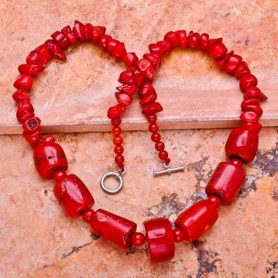 Cr 0387a collier parure sautoir corail rouge 84gr achat vente bijoux ethniques