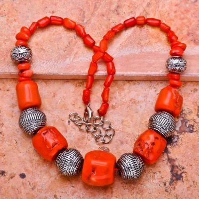 Cr 0404a collier 114gr parure sautoir corail orange achat vente bijoux ethniques