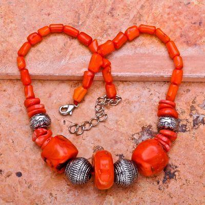 Cr 0418a collier 92gr parure sautoir corail orange achat vente bijoux ethniques