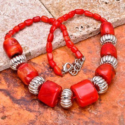 Cr 0425a collier ethnique corail 10x20mm perles metal