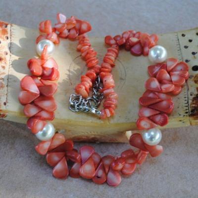 Cr 2046a collier corail rose perles nacre ethnique oriental achat vente bijoux 1
