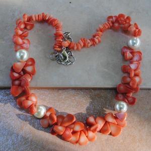 Cr 2046b collier corail rose perles nacre ethnique oriental achat vente bijoux 1