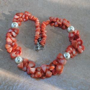 Cr 2046c collier corail rose perles nacre ethnique oriental achat vente bijoux 1